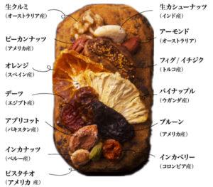 ファーイーストバザールのシュトーレンには13種類のフルーツやナッツがトッピングされています。